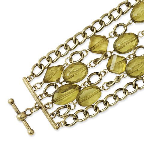 Brass-tone Green Acrylic Beads 8in Toggle Bracelet BF1201 - shirin-diamonds