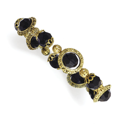 Brass-tone Black Acrylic Beads Stretch Bracelet BF1232 - shirin-diamonds
