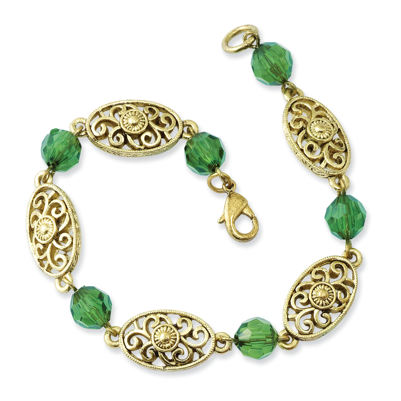 Brass-tone Green Acrylic Beads 7.5in Bracelet BF1233 - shirin-diamonds