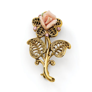 Gold-tone Pink Porcelain Rose/Pink Crystal Pin Brooch - shirin-diamonds
