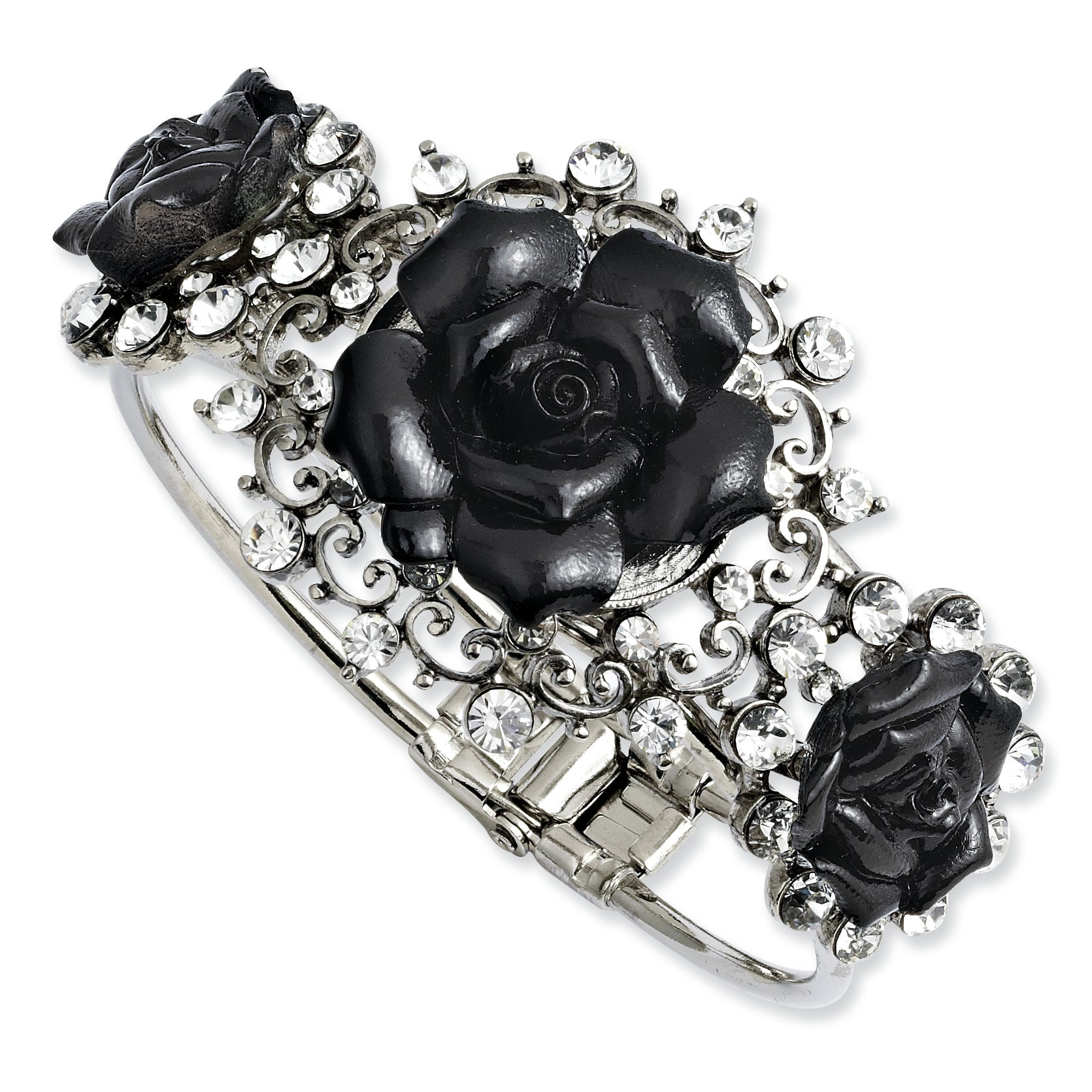 Silver-tone Black Flowers & Clear Crystal Hinged Bracelet BF1820 - shirin-diamonds