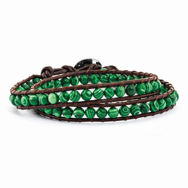 6mm Green Malachite Beads Leather Cord Multi Wrap Bracelet BF2088 - shirin-diamonds