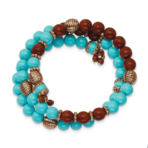 Copper-tone Aqua Blue & Brown Acrylic Beads Wrap Bracelet BF798 - shirin-diamonds