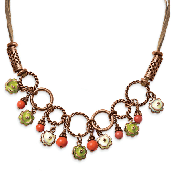 Copper-tone Green & White Enamel, Orange Beads 16in w/ext Necklace BF809