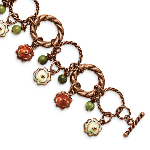 Copper-tone Orange/White Enamel/Acrylic Beads 7in Toggle Bracelet BF810 - shirin-diamonds