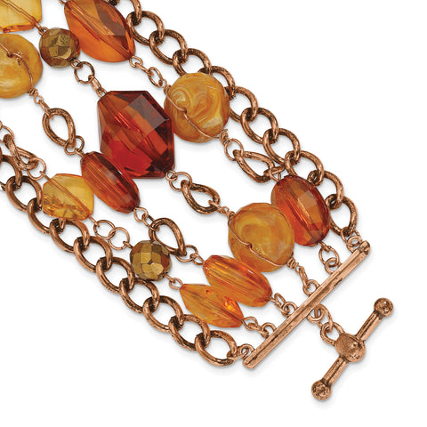 Copper-tone Multicolor Acrylic Beads 7.25in Toggle Bracelet BF838 - shirin-diamonds