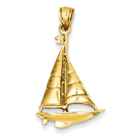 14k Polished Sailboat Pendant C2471 - shirin-diamonds