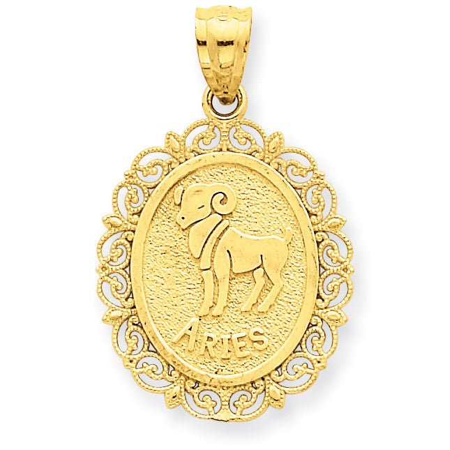14k Solid Satin Polished Aries Zodiac Oval Pendant C2843 - shirin-diamonds