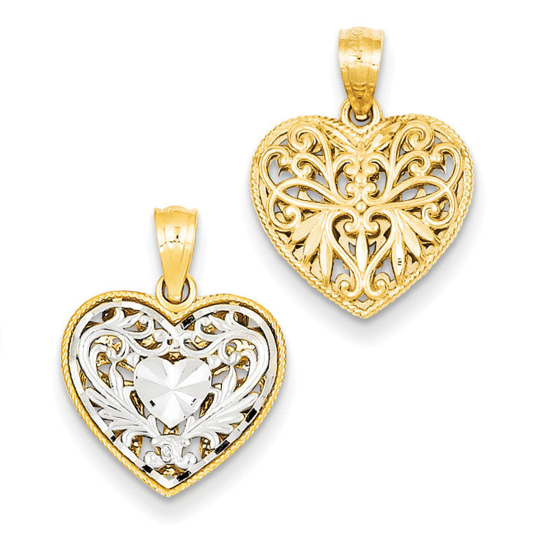 14k Two-tone Reversible Filigree Heart Pendant C2928 - shirin-diamonds