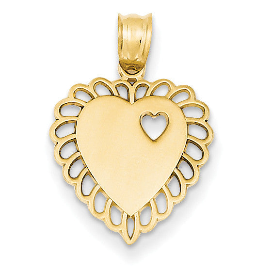 14k Heart Charm C295 - shirin-diamonds