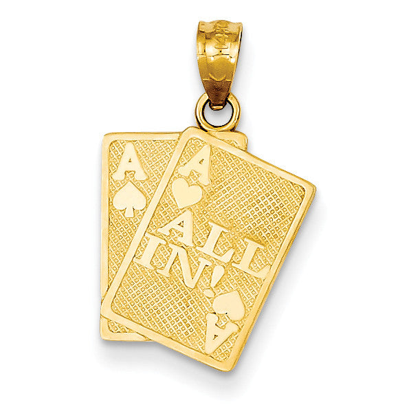 14k Ace of Hearts & Ace of Spade All In! Cards Pendant C3045 - shirin-diamonds