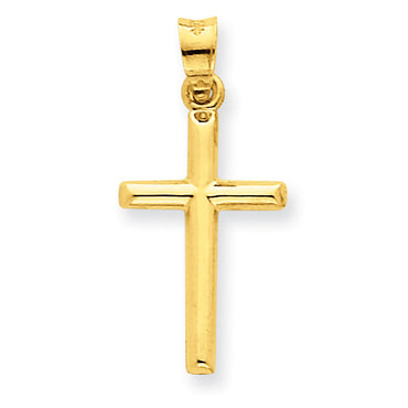 14k Polished Hollow Cross Pendant C3623 - shirin-diamonds