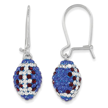 Sterling Silver Swarovski Elements New York Spirit Football Earrings CE0172 - shirin-diamonds