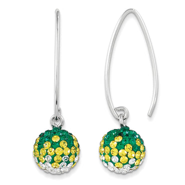 Sterling Silver Swarovski Elements Green Bay Spirit Ball Earrings CE0174-020 - shirin-diamonds