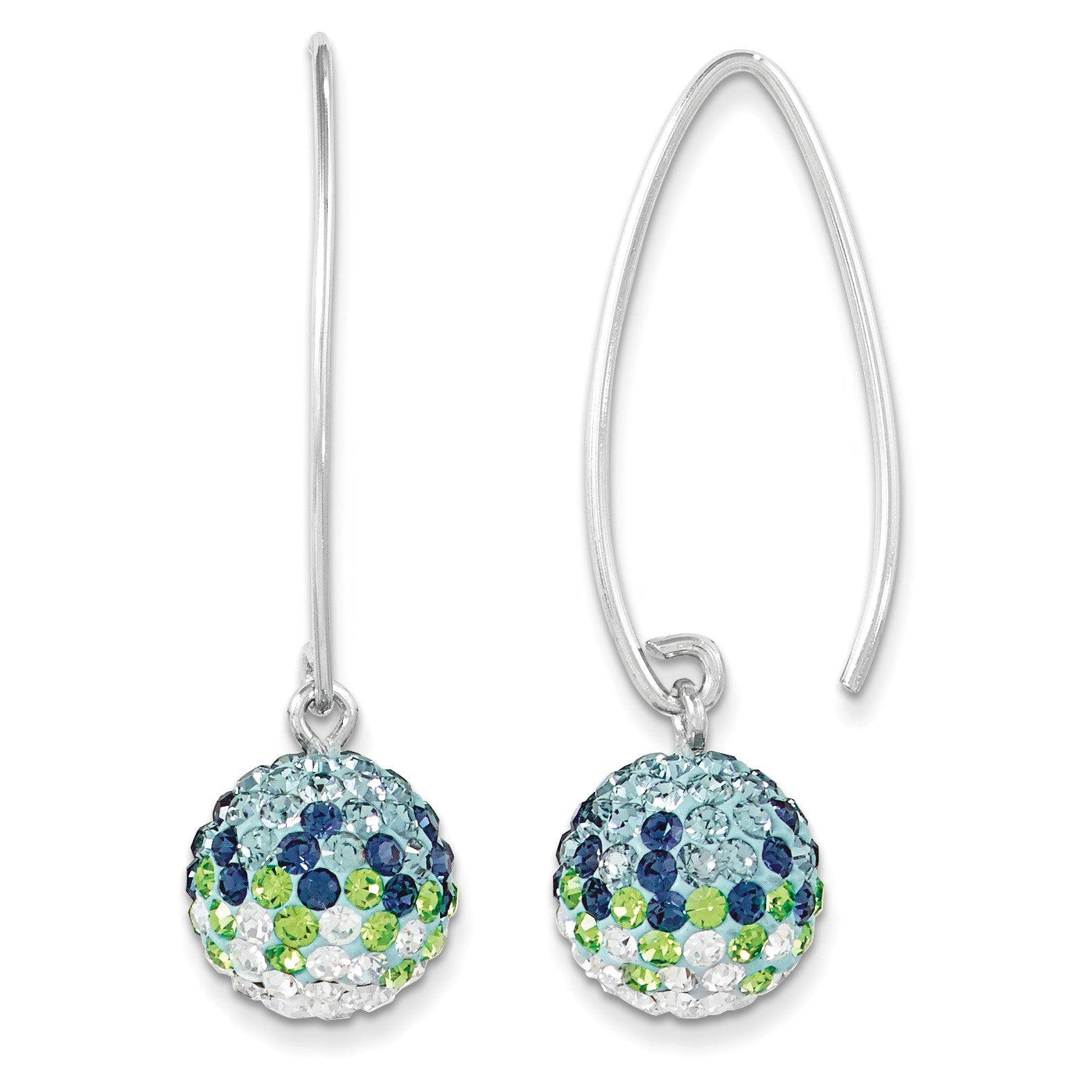 Sterling Silver Swarovski Elements Seattle Spirit Ball Earrings CE0174-028 - shirin-diamonds