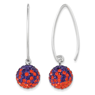 Sterling Silver Swarovski Crystal Clemson Spirit Ball Earrings CE0174-33 - shirin-diamonds