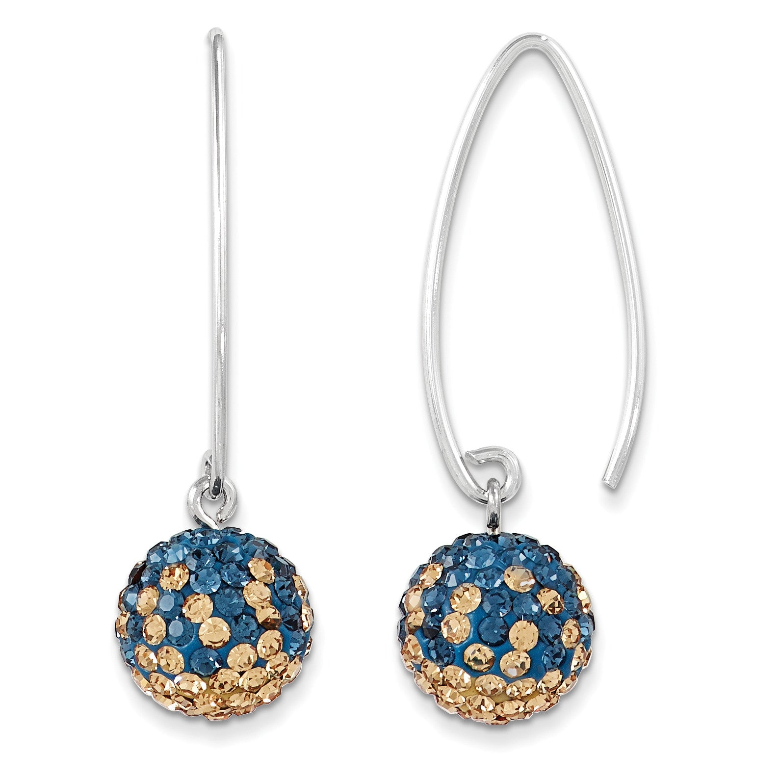 Sterling Silver Swarovski Elements U of Pittsburgh Earrings CE0174-58 - shirin-diamonds