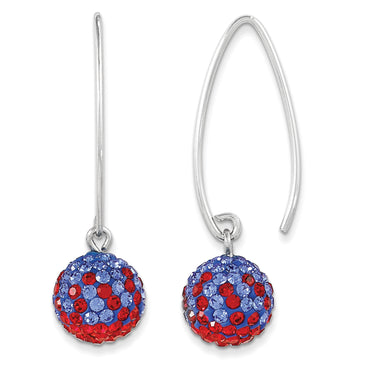 Sterling Silver Swarovski Crystal U of Kansas Earrings CE0174-64 - shirin-diamonds