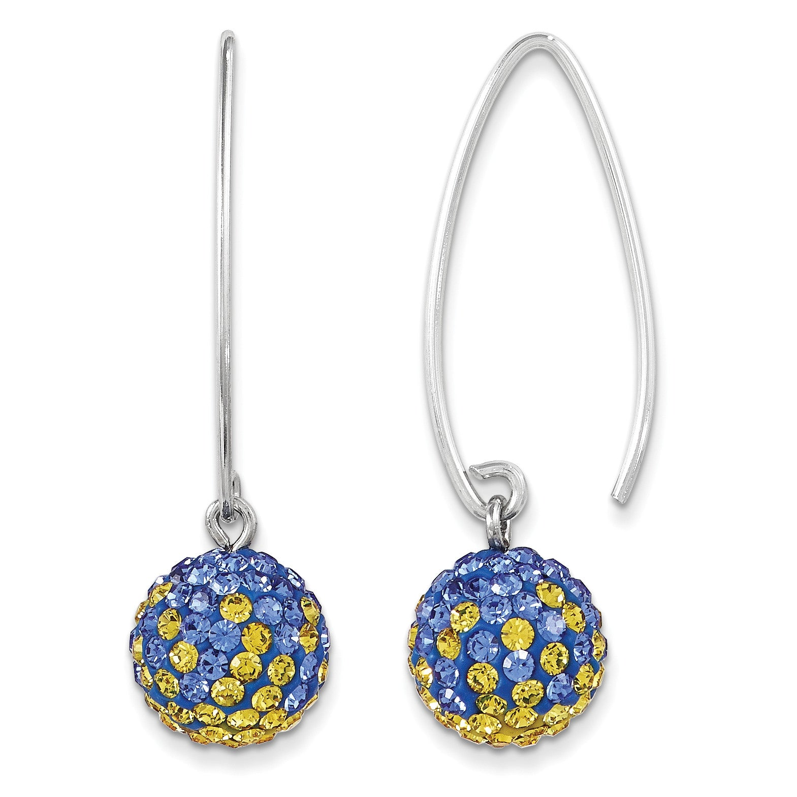 Sterling Silver Swarovski Elements Los Angeles Spirit Ball Earrings CE0174 - shirin-diamonds