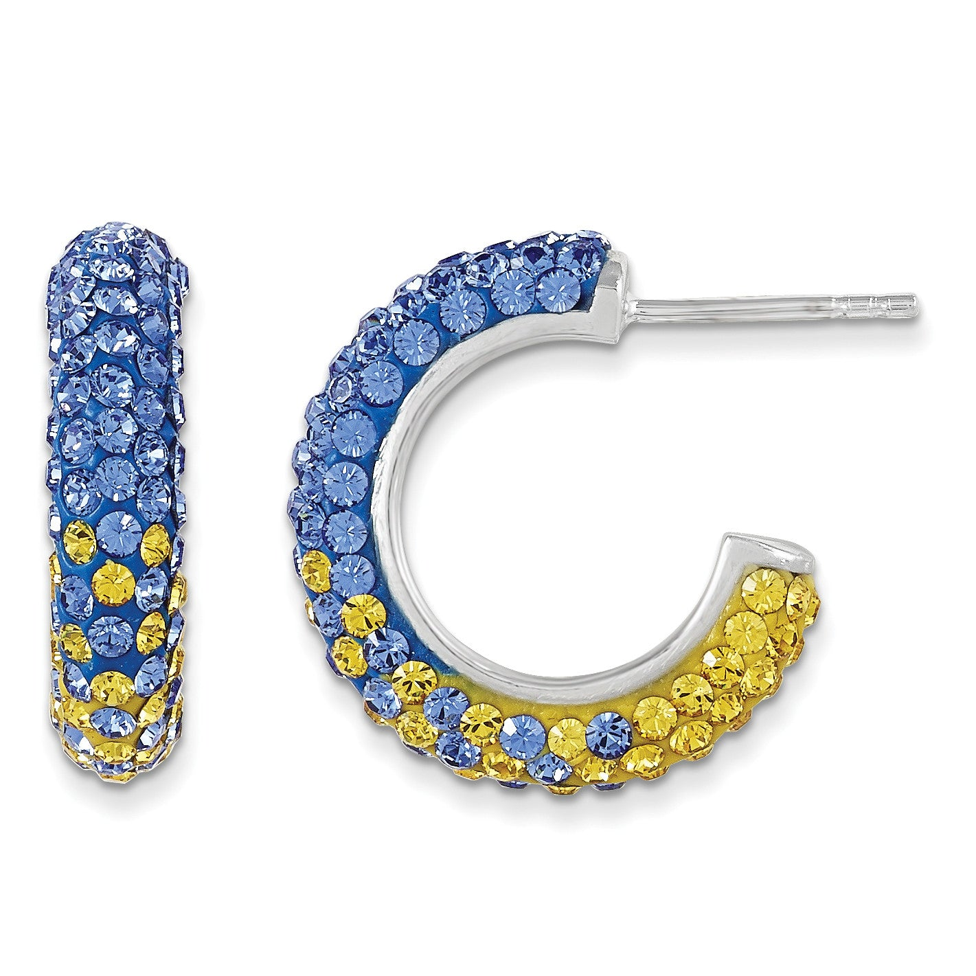 Sterling Silver Swarovski Elements Los Angeles Spirit Hoop Earrings CE3071-69 - shirin-diamonds