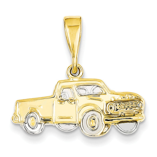 14k & Rhodium Pick-up Truck Pendant CG28 - shirin-diamonds