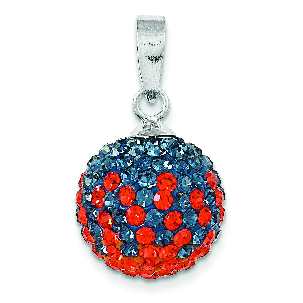 Sterling Silver Swarovski Elements U of Virginia Ball Pendant CP6012-59 - shirin-diamonds