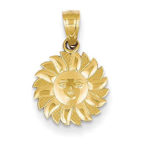 14k Polished Sun with Face Pendant D1263 - shirin-diamonds