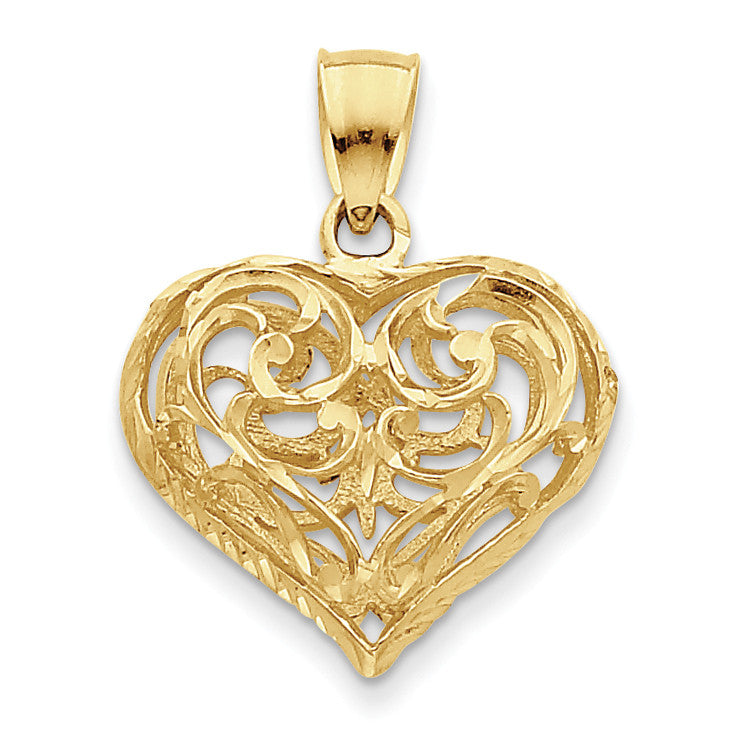 14K 3-D Diamond-cut Open Filigree Heart Pendant D3821 - shirin-diamonds