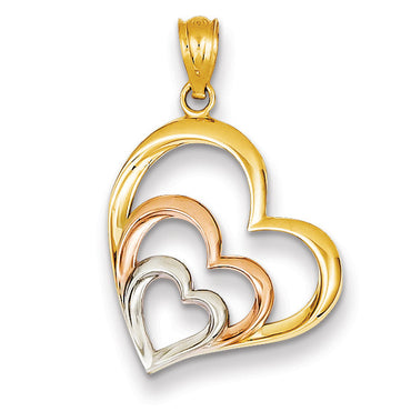 14k Two-tone & Rhodium Hearts Pendant D4356 - shirin-diamonds