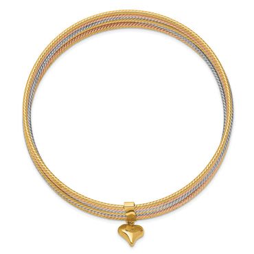 14K Tri-color Slip On 7 Bangles DB533O - shirin-diamonds