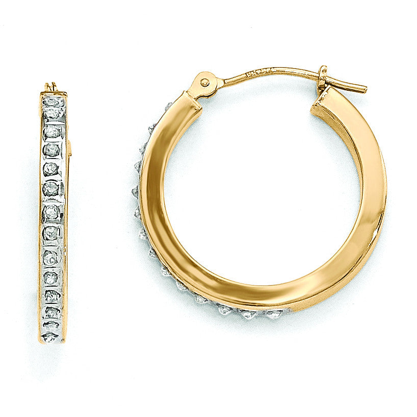 14k Diamond Fascination Round Hinged Hoop Earrings DF162 - shirin-diamonds