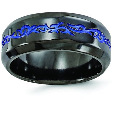 Edward Mirell Black Ti Patterned Blue Anodized Polished 9mm Band EMR112 - shirin-diamonds
