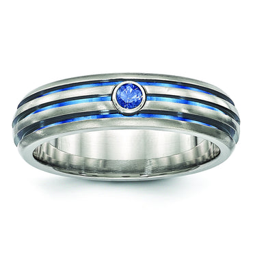 Edward Mirell Titanium Trpl Groove Blue Anodized & Sapphire Ring EMR270 - shirin-diamonds