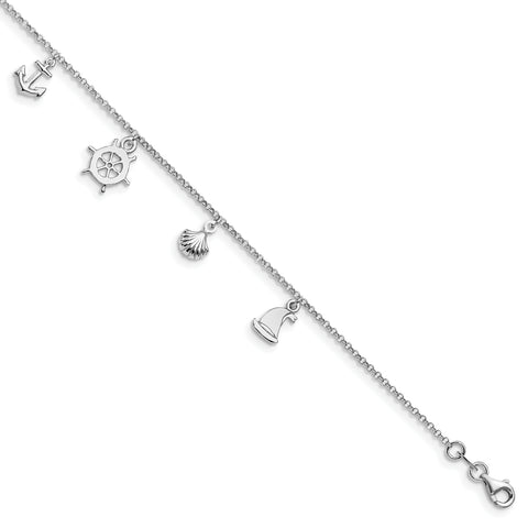 Leslie's Sterling Silver Adjustable 9-10 Anklet FA19 - shirin-diamonds