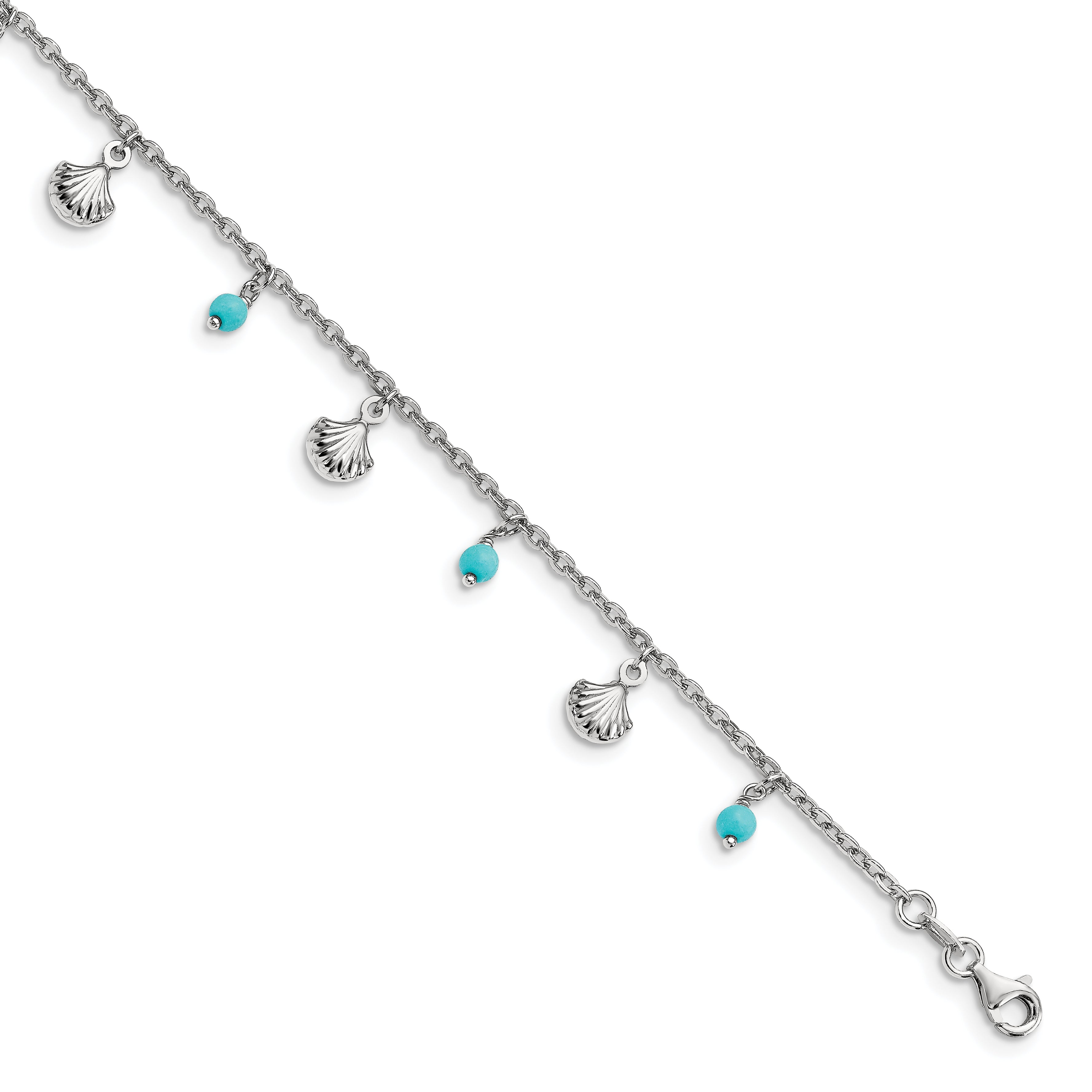 Leslie's Sterling Silver Turquoise Adj. 9-10 Anklet FA27 - shirin-diamonds