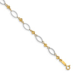 14K Two-tone Oval Marquise Links with D/C Beads Bracelet FB1348 - shirin-diamonds