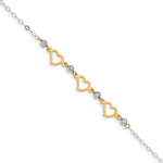14K Two-tone Oval Link Diamond Cut Beads and Heart Bracelet FB1356 - shirin-diamonds