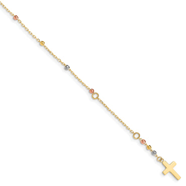 14K Tri Colored Gold Diamond Cut Beaded Cross W/1 IN Ext Bracelet FB1456 - shirin-diamonds