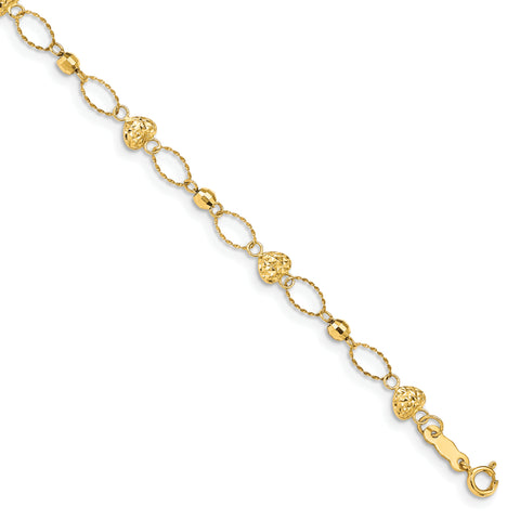 14k Polished D/C Oval Links w/Mirror Beads & Puffed Hearts Bracelet FB1475 - shirin-diamonds