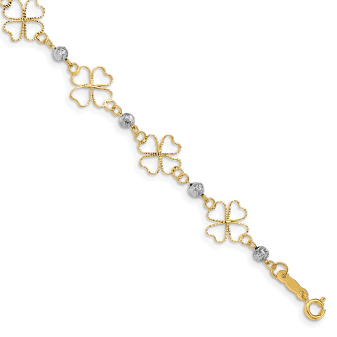14k Two-tone Diamond-cut Open Clovers & Beads Bracelet FB1492 - shirin-diamonds