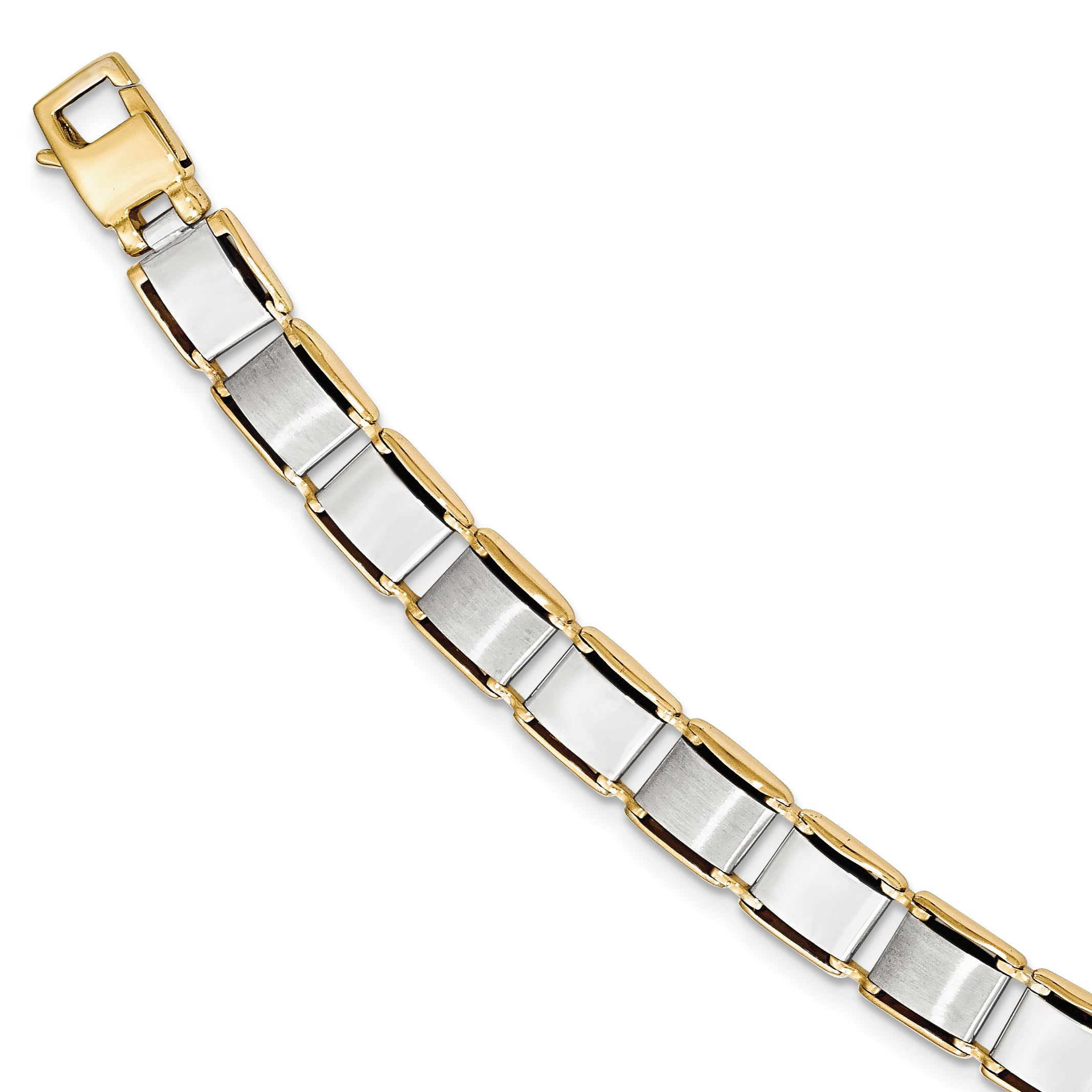 14k Two-tone Brushed & Polished 8.5in Bracelet GB231 - shirin-diamonds