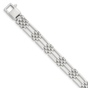 14k White Brushed & Polished Link 8.5in Bracelet GB235 - shirin-diamonds