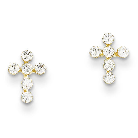 14k Madi K CZ Cross Earrings