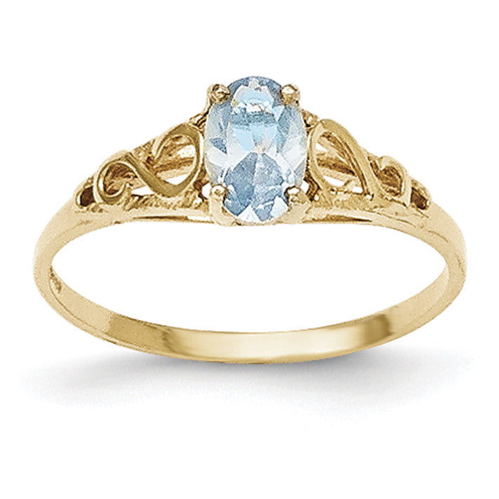 14k Madi K Synthetic Aquamarine Ring GK277 - shirin-diamonds