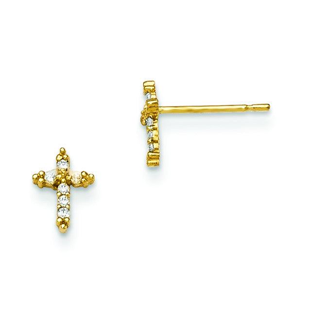 14k Madi K CZ Children's Cross Post Earrings GK686 - shirin-diamonds