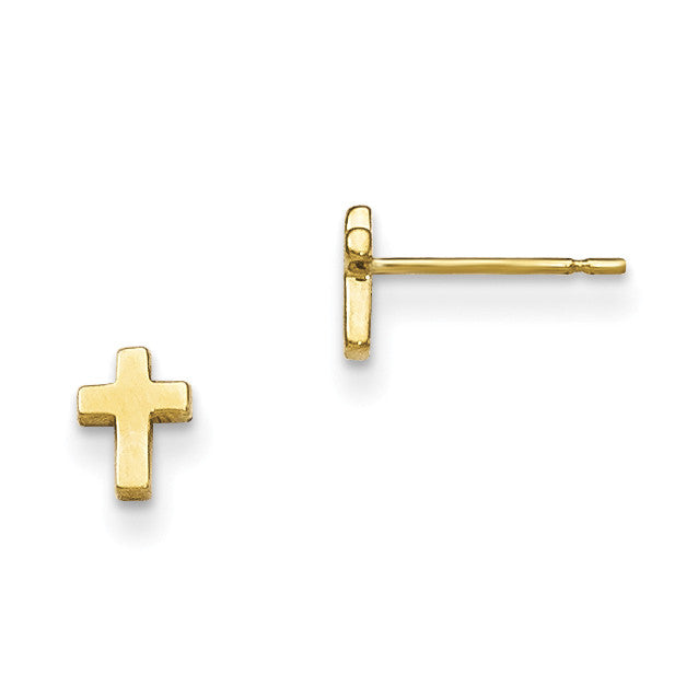 14k Madi K Children's Cross Post Earrings GK689 - shirin-diamonds