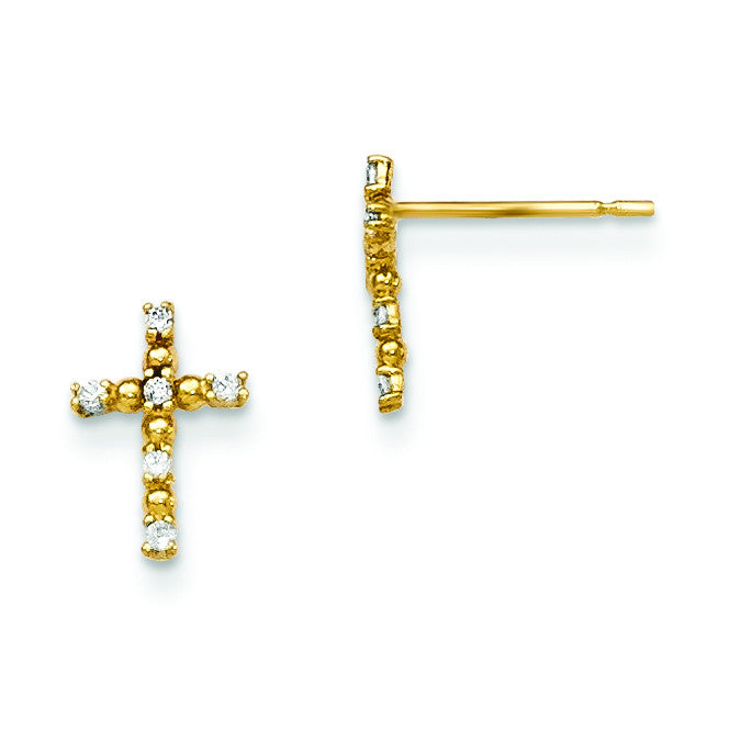 14k Madi K CZ Children's Cross Post Earrings GK693 - shirin-diamonds