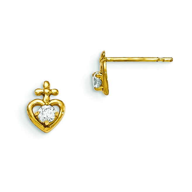 14k Madi K CZ Children's Heart Cross Post Earrings GK724 - shirin-diamonds