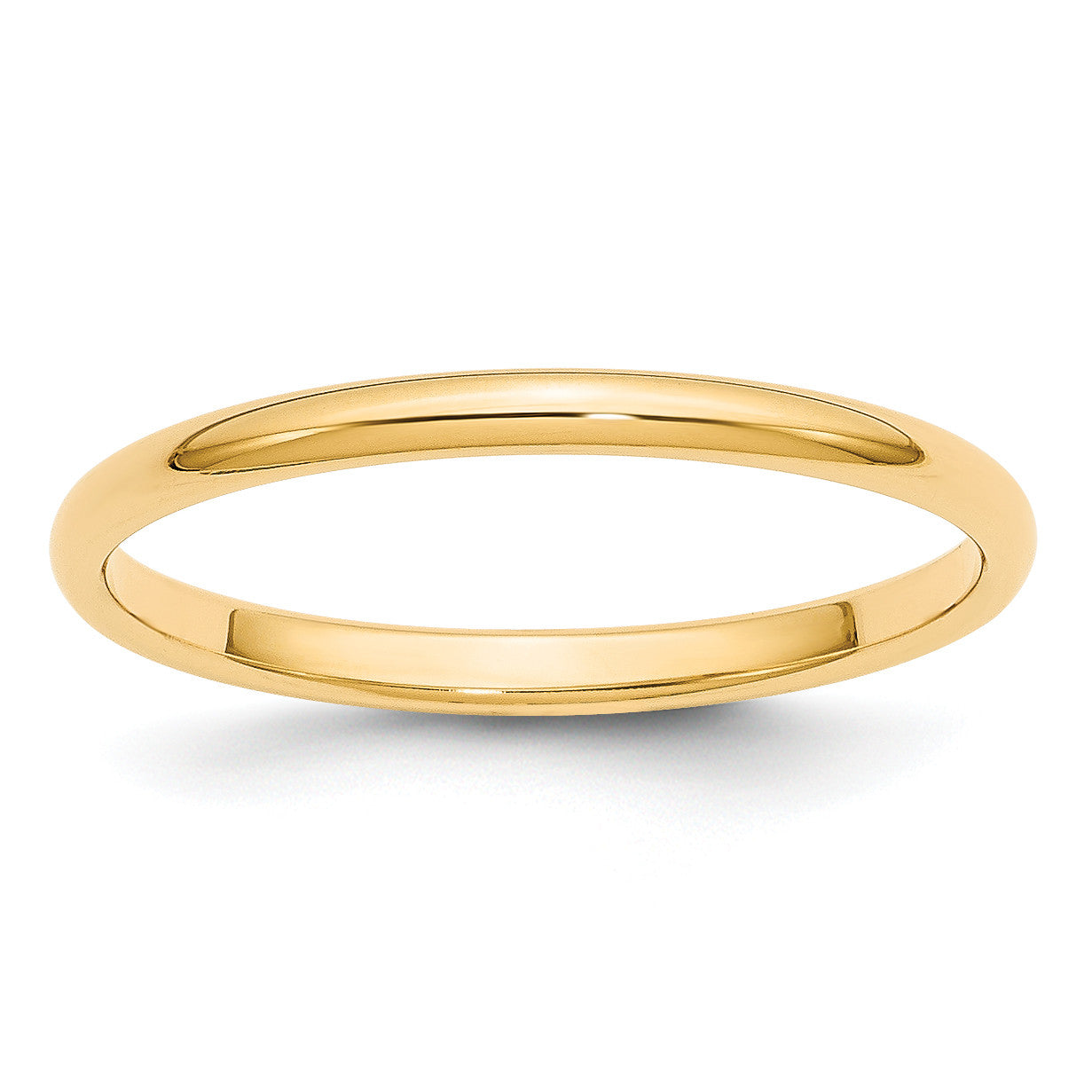 14k 2mm Half-Round Wedding Band HR020 - shirin-diamonds