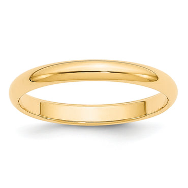 14k 3mm Half-Round Wedding Band HR030 - shirin-diamonds